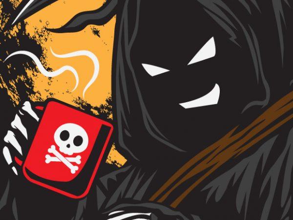 Drink or Die – Grim Reaper – Coffee t shirt vector illustration
