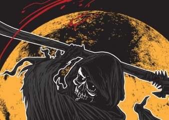 Slashing Beauty – Grim Reaper t shirt template vector