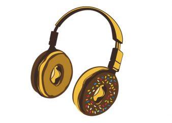 Headphone Donut buy t shirt design for commercial use