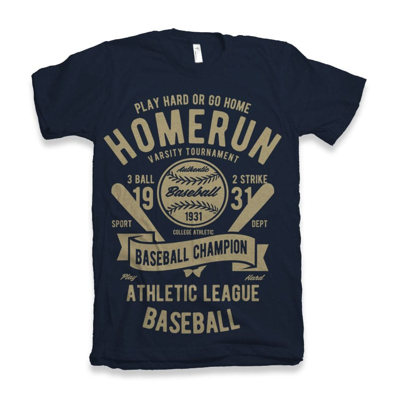 Homerun Baseball vector design tshirt factory
