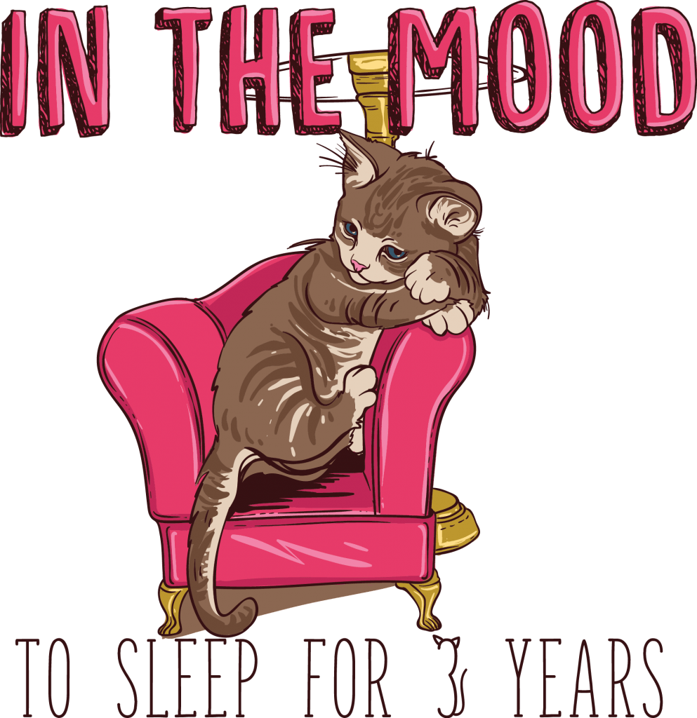 In the mood to sleep for 3 years (Cat) tshirt designs for merch by amazon
