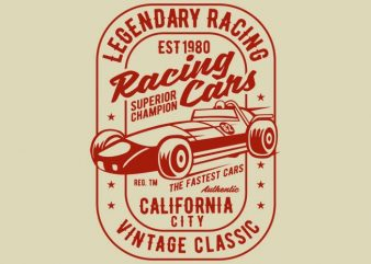 Legendary Racing Cars tshirt design