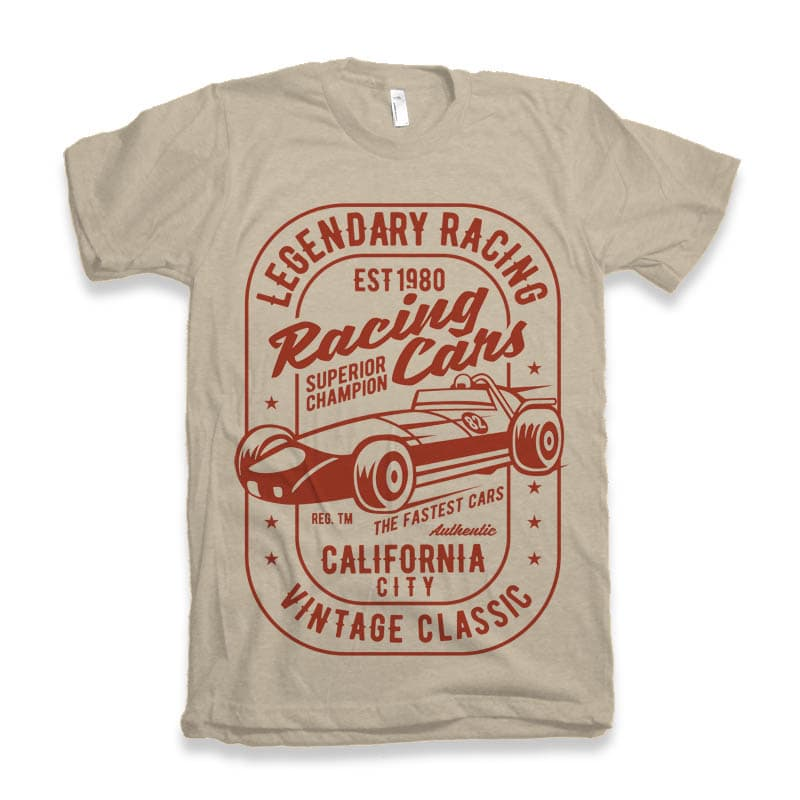 Legendary Racing Cars tshirt design t shirt designs for printify