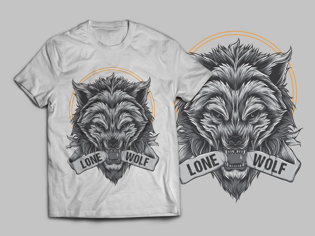 Lone Wolf T-Shirt Design t-shirt designs for merch by amazon
