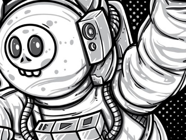 Lost in Space – Skull Astronaut vector t-shirt design