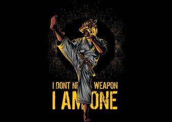Martial Arts Tiger t shirt designs for sale