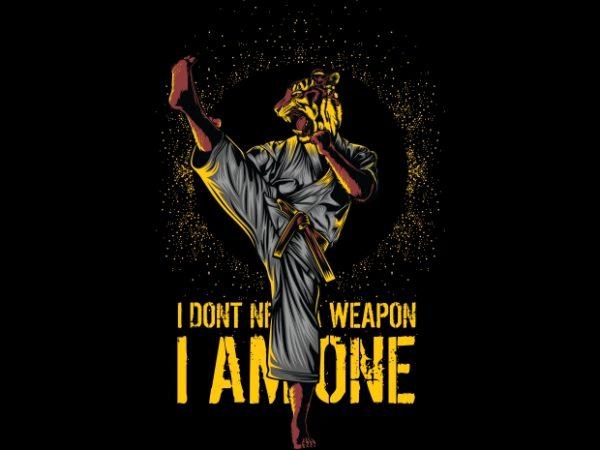 Martial Arts Tiger vector t-shirt design template