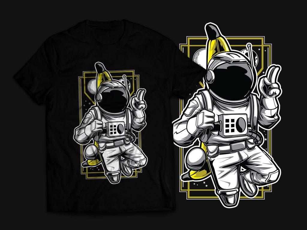 Bananaut – Astronaut & Banana T-Shirt Design commercial use t shirt designs