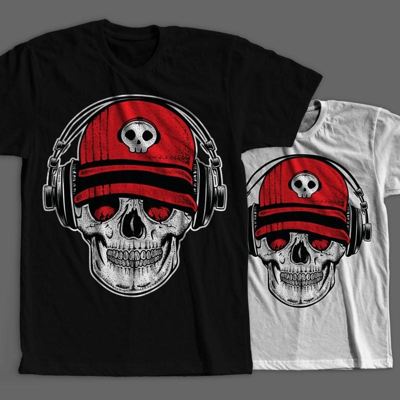 DJ Skull2 tshirt design for merch by amazon