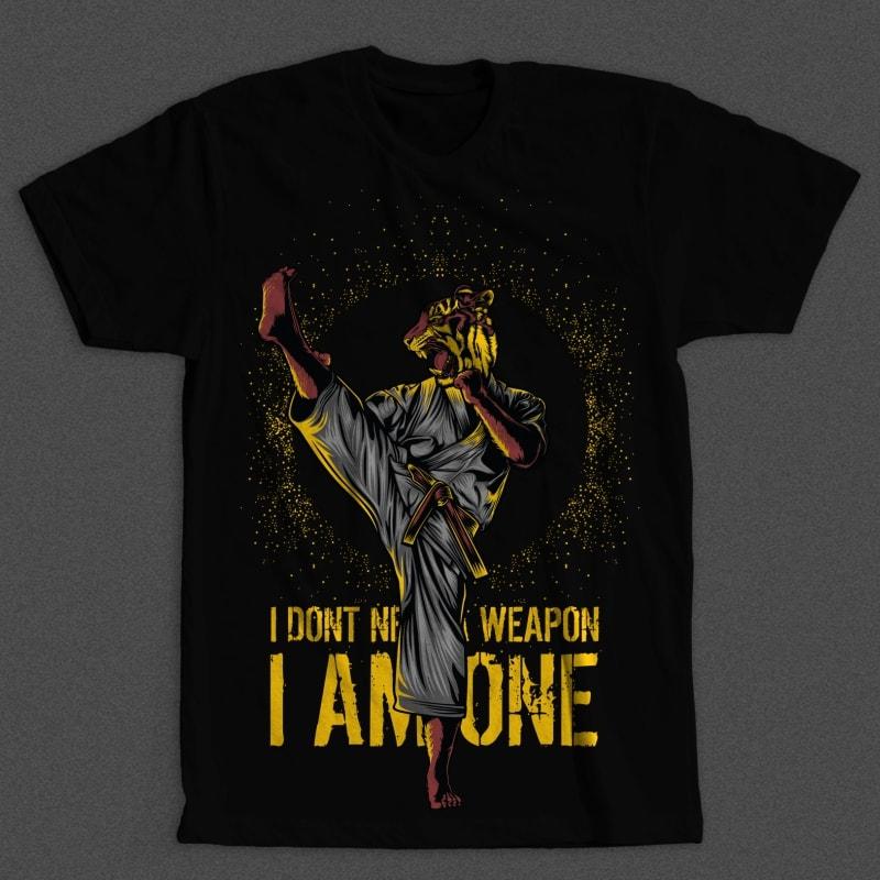 Martial Arts Tiger vector t shirt design