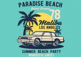 Paradise Beach t shirt illustration