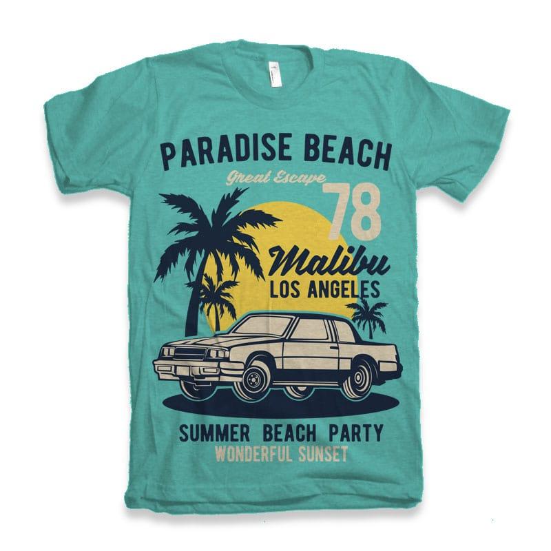 Paradise Beach vector shirt designs