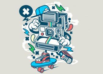 Polaroid Skater t shirt illustration