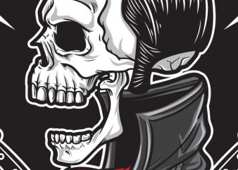 Rockabilly Skull vector t-shirt design template