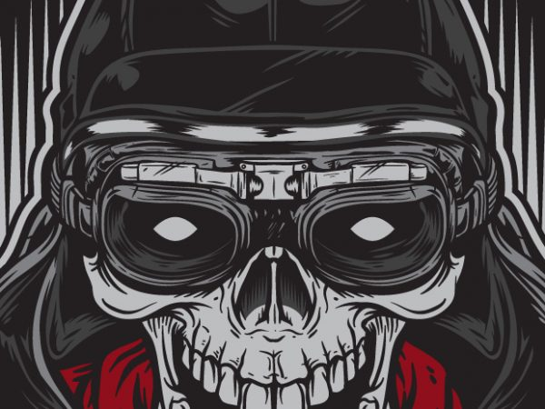 Skull Racer – Racing t shirt template vector