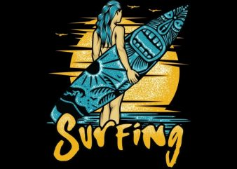 Surfing tshirt design vector