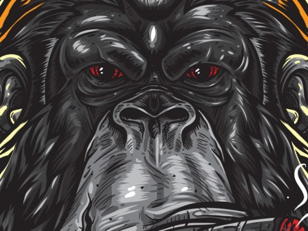 Swag – Gorilla Hipster print ready vector t shirt design