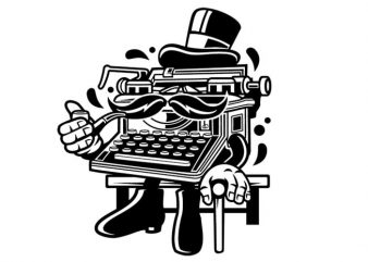 Typewriter Classic Gentleman vector t shirt design artwork