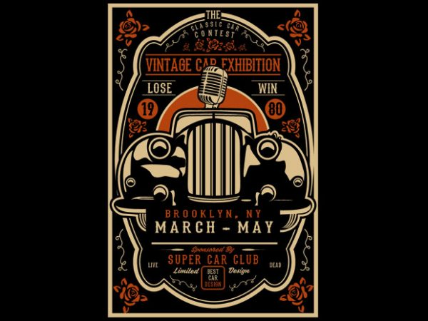 Vintage Car Exhibition BTD 600x450 - Vintage Car Exhibition buy t shirt design