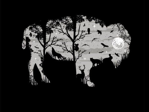 Wild Bison t shirt design for sale
