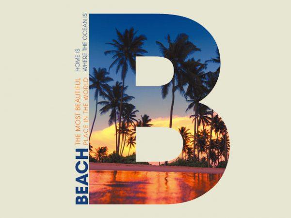 B PALM BEACH print ready t shirt design