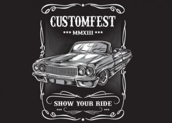 CLASSIC CARS vector t-shirt design template
