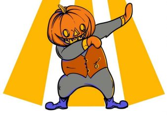 Dabbing pumkin vector t-shirt design for commercial use