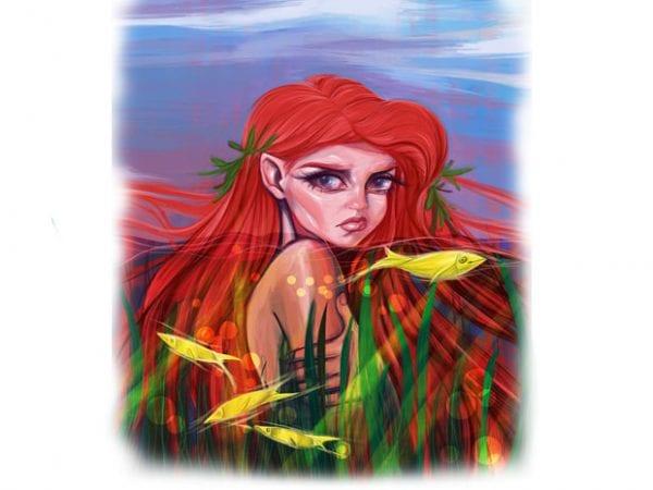 Mermaid t shirt design for sale