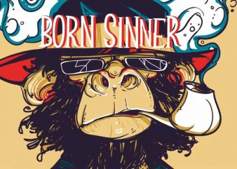 Natural born sinner vector t-shirt design for commercial use