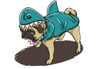 Pugyshark design for t shirt
