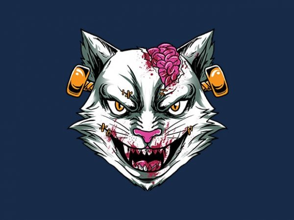 zombie stein head t-shirt design for commercial use