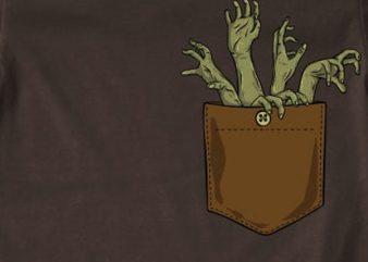 Zombie hands pocket t shirt graphic design