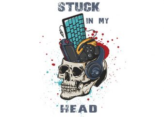 Stuck in my head graphic t-shirt design