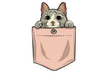Cute cat pocket vector t shirt design for download