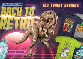 Back To Retro 100 T-Shirt Designs Bundle