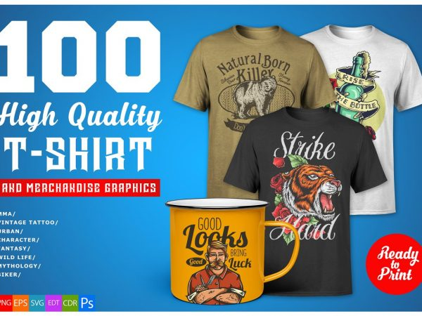 100 T-shirt Graphics Bundle