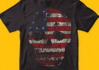 American Skull T-shirt Design