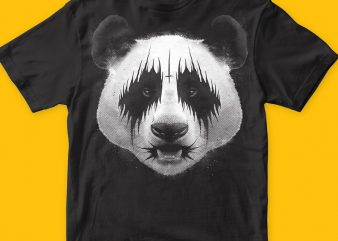 Black Metal Panda T-shirt Illustration