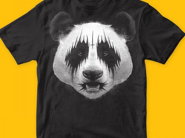 Black Metal Panda T-shirt Illustration