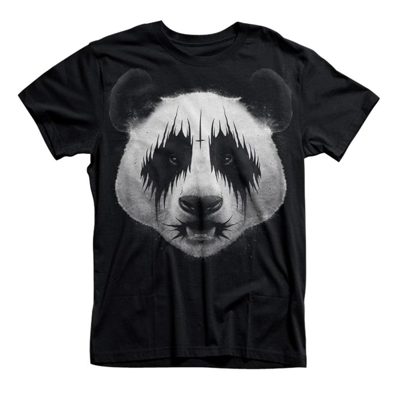 Black Metal Panda T-shirt Illustration t shirt designs for merch teespring and printful