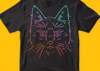 Cat Colors T-shirt Vector Artwork