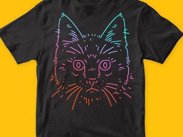 Cat Colors T-shirt Vector Artwork