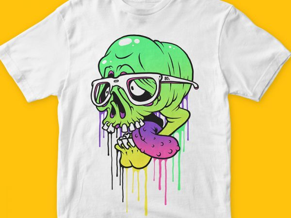 Colored Skull t-shirt design png