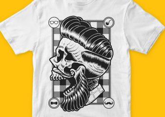 Hipster Skull png t-shirt design template