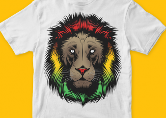 Lion Reggae Graphic t-shirt design