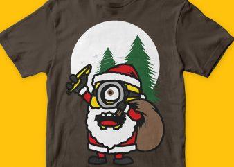 Santa Minions t shirt design template