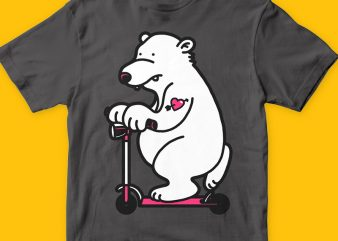 Scooter bear graphic t-shirt design