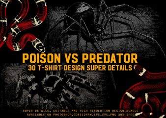 POISON VS PREDATOR 30 T-SHIRT DESIGN Bundle