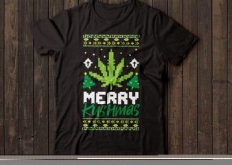 merry kushmas | ugly Christmas sweater | Santa | t-shirt design |marijuana design | weed tshirt design