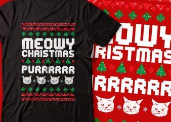 meowy Christmas purrrr.. t-shirt design |Christmas tshirt | cat tshirt design